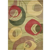 Alliyah Handmade Amber Green New Zealand Blend Wool Rug - 9' x 12'