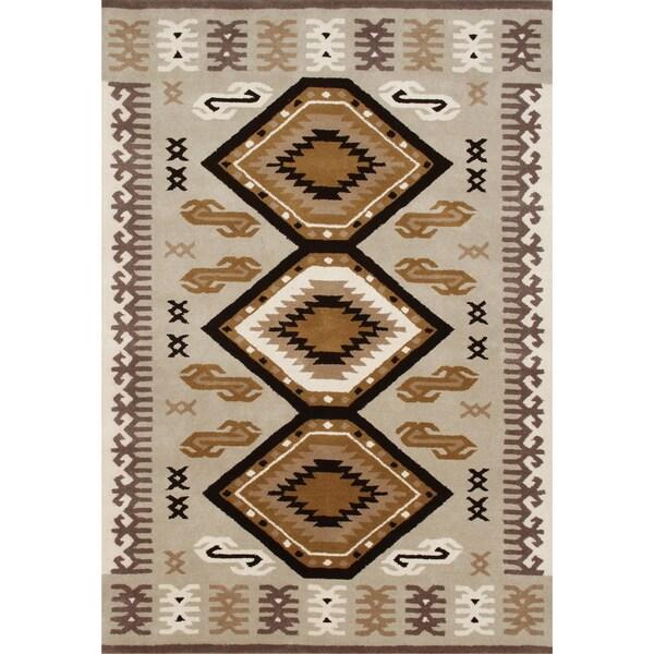 Alliyah Hand Made Beige New Zeeland Blend Wool Rug (5' x 8')