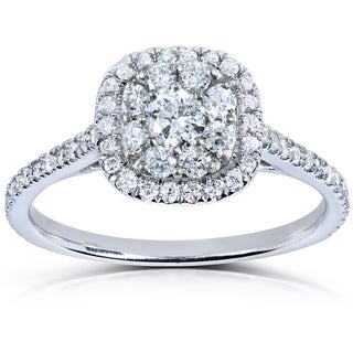 Annello by Kobelli 14k White Gold 1/2ct TDW Diamond Cluster Engagement Ring