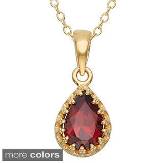 Gioelli Tiara Collection Goldplated Silver Pear-cut Gemstone Crown Necklace
