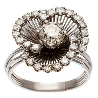 Pre-owned Platinum 1 1/2ct TDW Diamond Blooming Flower Estate Ring (J-K, SI1-SI2)