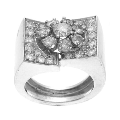 Pre-owned Platinum 2ct TDW Diamond Cluster Estate Ring (I-J, VS1-VS2)