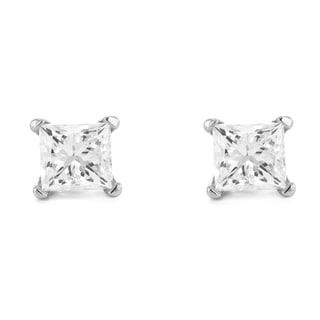 Montebello 14k White Gold 1ct TDW Princess-cut Diamond Solitaire Stud Earrings