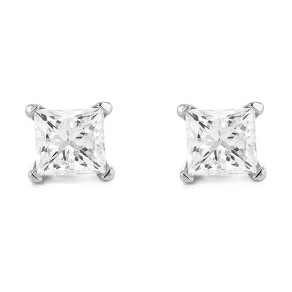 Montebello 14k White Gold 1/4ct TDW Princess-cut Diamond Solitaire Stud Earrings