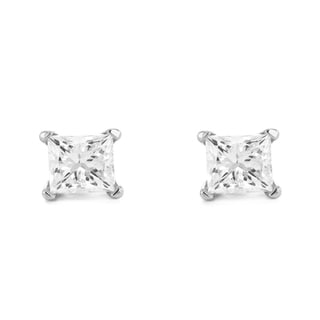 Montebello 14k White Gold 3/4ct TDW Diamond Solitaire Earrings