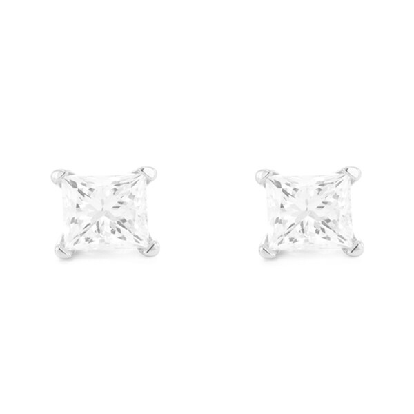 Montebello 14KT White Gold 3/4ct TDW Diamond Solitaire Earrings - N/A