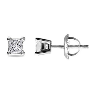 Montebello 14k White Gold 1/2ct TDW Diamond Solitaire Stud Earrings (G-H, VS1-VS2)