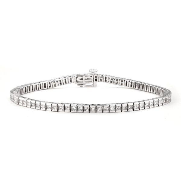 Montebello 14k White Gold 3 7/8ct TDW Princess-cut Diamond Tennis Bracelet (G-H, I1)