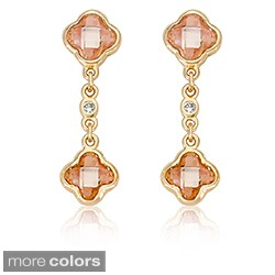 Riccova 14k Goldplated Faceted Cubic Zirconia Clover Dangle Earrings