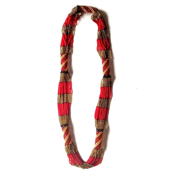 Handcrafted Zulu Long Woven Glass Multi-Beaded Necklace (South Africa)