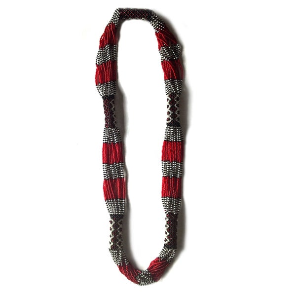 Zulu Long Woven Glass Multi Beaded Necklace (South Africa)