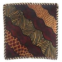 "Handmade Skin Pattern Banana Fiber Trimmed Tray (Kenya) - 9"" x 9"""