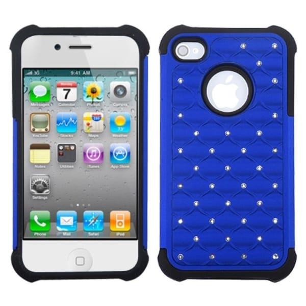 INSTEN Dark Blue/ Black Lattice Phone Case Cover for Apple iPhone 4/ 4S