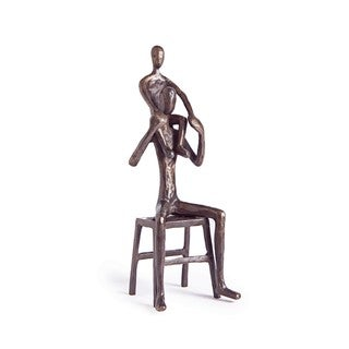 Father Carrying Child on Shoulders Bronze Sculpture