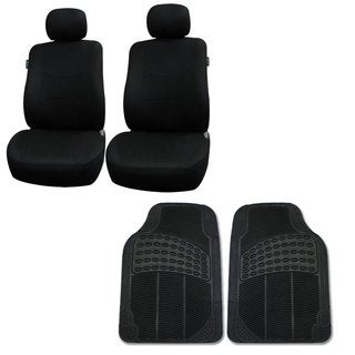 FH Group Black Combo Set Front Bucket Seat Covers and Front Floor Mats