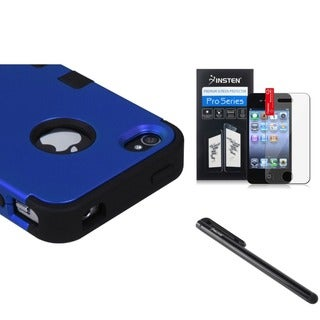 INSTEN Blue Phone Case Cover/ Screen Protector/ Stylus for Apple iPhone 4/ 4S