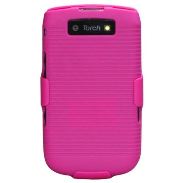 INSTEN Rubberized Hot Pink Hybrid Holster for BlackBerry 9800 Torch
