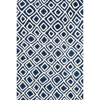 Microfiber Woven Harlow Navy Rug (7'6 x 9'6)