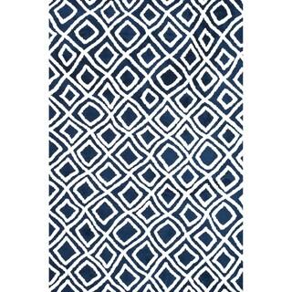 Microfiber Woven Harlow Navy Rug