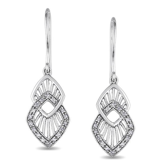 Miadora  10k White Gold 1/8 CT TDW Diamond Dangle Earrings (H-I, I2-I3)