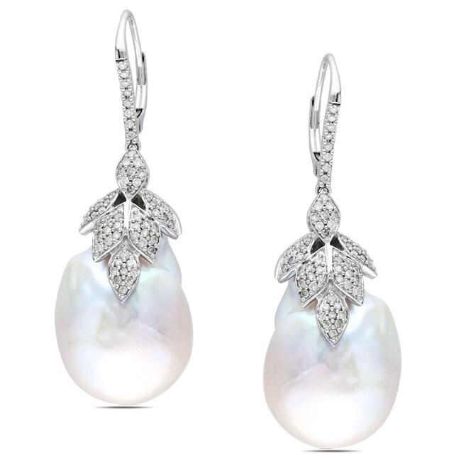 Miadora 14k White Gold 3/4 CT TDW Diamond and Baroque Pearl Earrings (G-H, SI1-SI2)