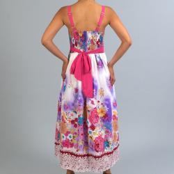 Meetu Magic Women's Pink Floral Maxi Dress - Thumbnail 1
