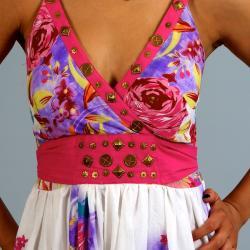 Meetu Magic Women's Pink Floral Maxi Dress - Thumbnail 2