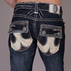 Laguna Beach Men's 'Bolsa Chica Beach' White Stitch Crystal Jeans - Thumbnail 2