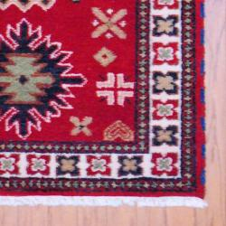 Indo Hand-knotted Kazak Red/ Ivory Wool Rug (3' x 5') - Thumbnail 2