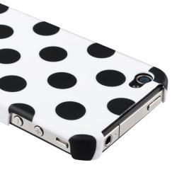 White with Black Polka Dot Case/ Audio Cable for Apple iPhone 4/ 4S - Thumbnail 2