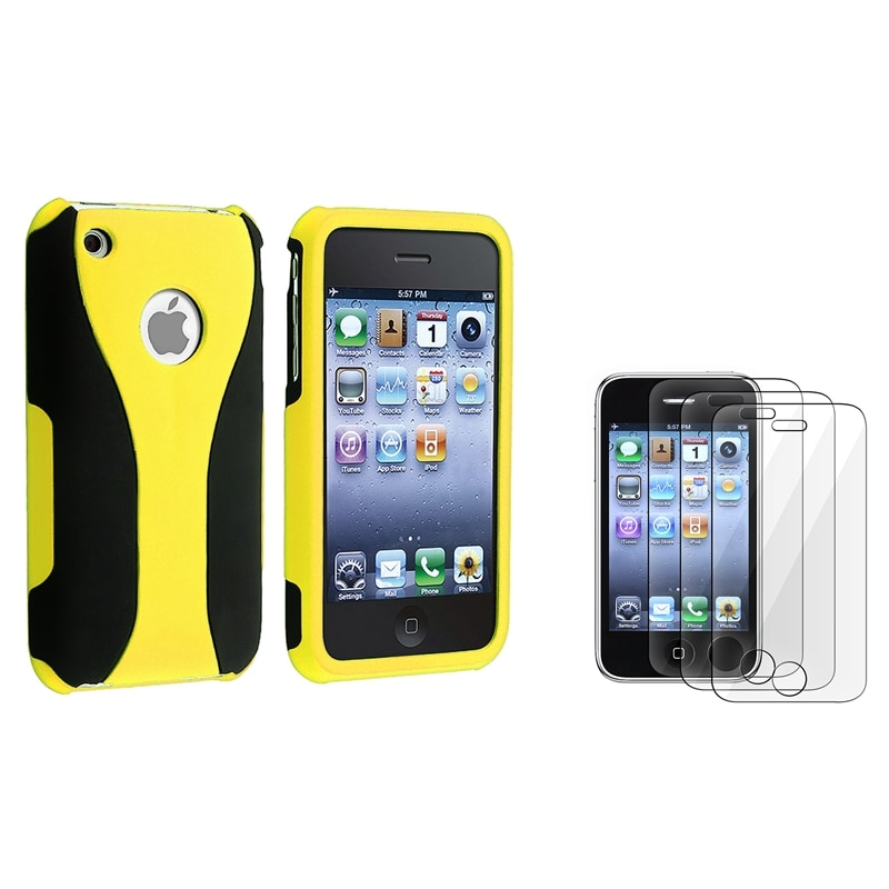 Yellow/ Black Cup Shape Case/ LCD Protector for Apple iPhone 3G/ 3GS