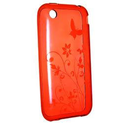 Red Flower Butterfly TPU Case/ LCD Protector for Apple iPhone 3G/ 3GS - Thumbnail 1