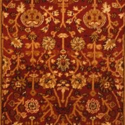 Indo Hand-knotted Mahal Burgundy/ Black Wool Rug (4' x 6')