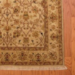 Indo Hand-knotted Vegetable Dye Beige/ Olive Wool Rug (4' x 6')