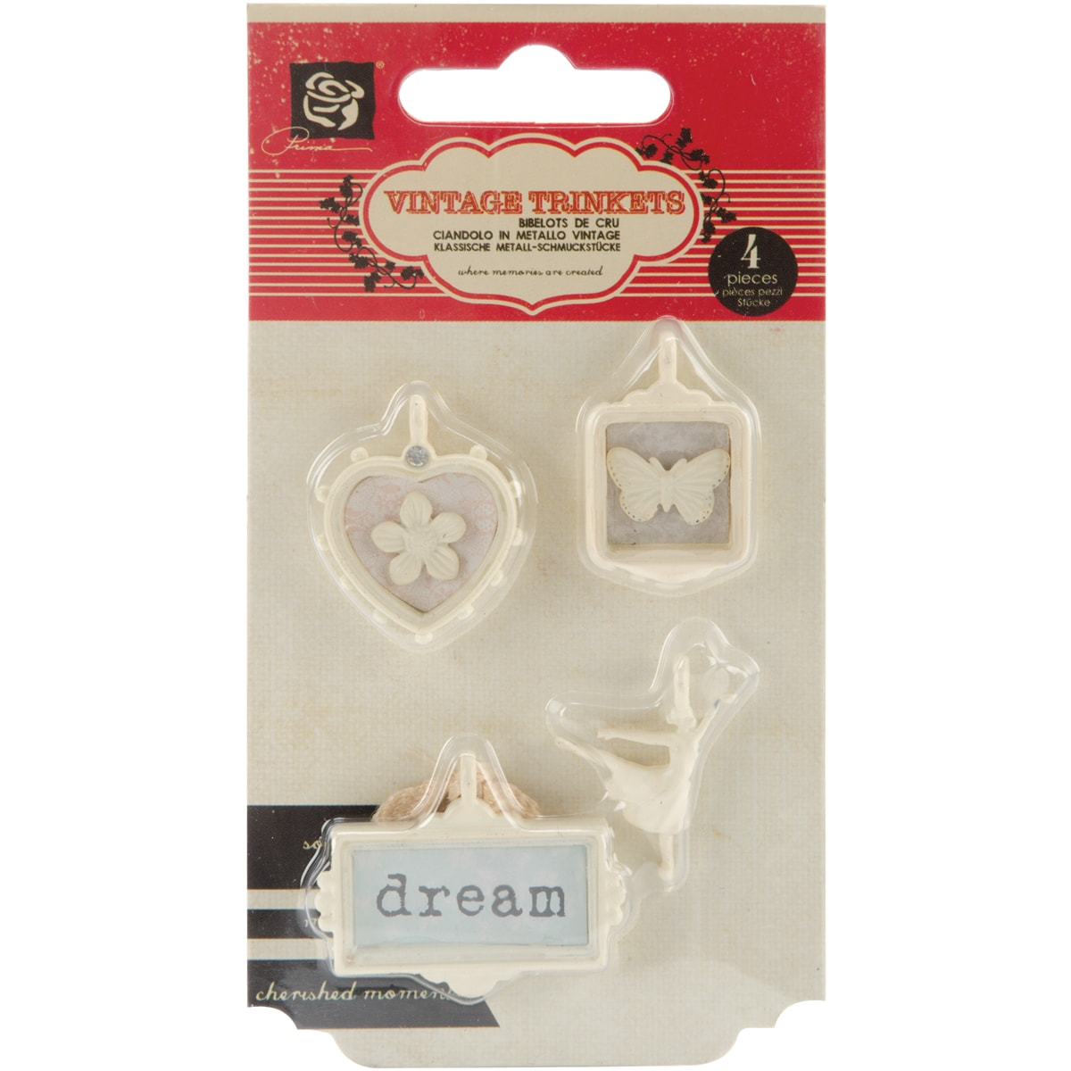 """Fairy Belle Trinkets Metal Charms .75"""" To 1.5"""" 4/Pkg-"""