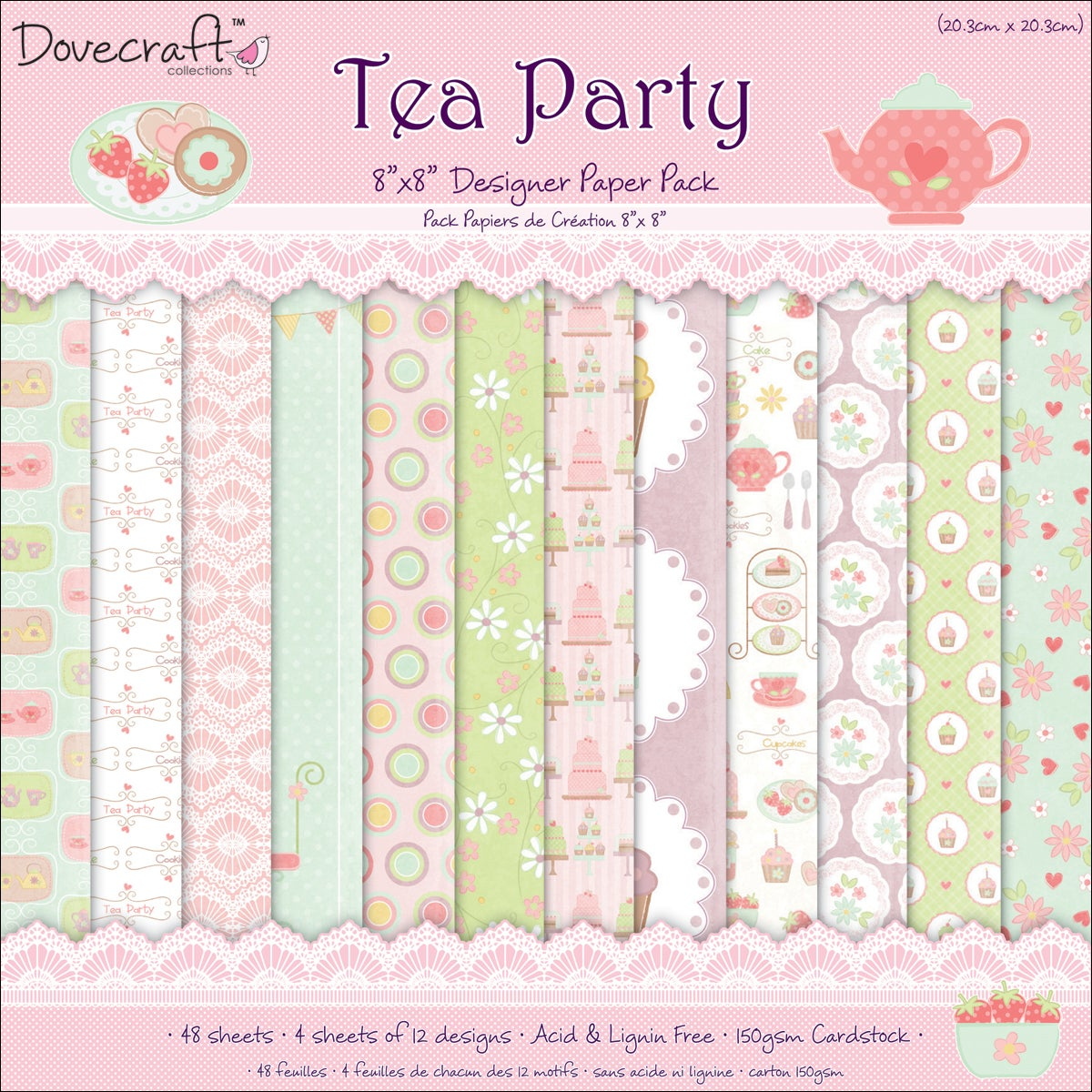 """Tea Party Paper Pack 8""""X8in"""