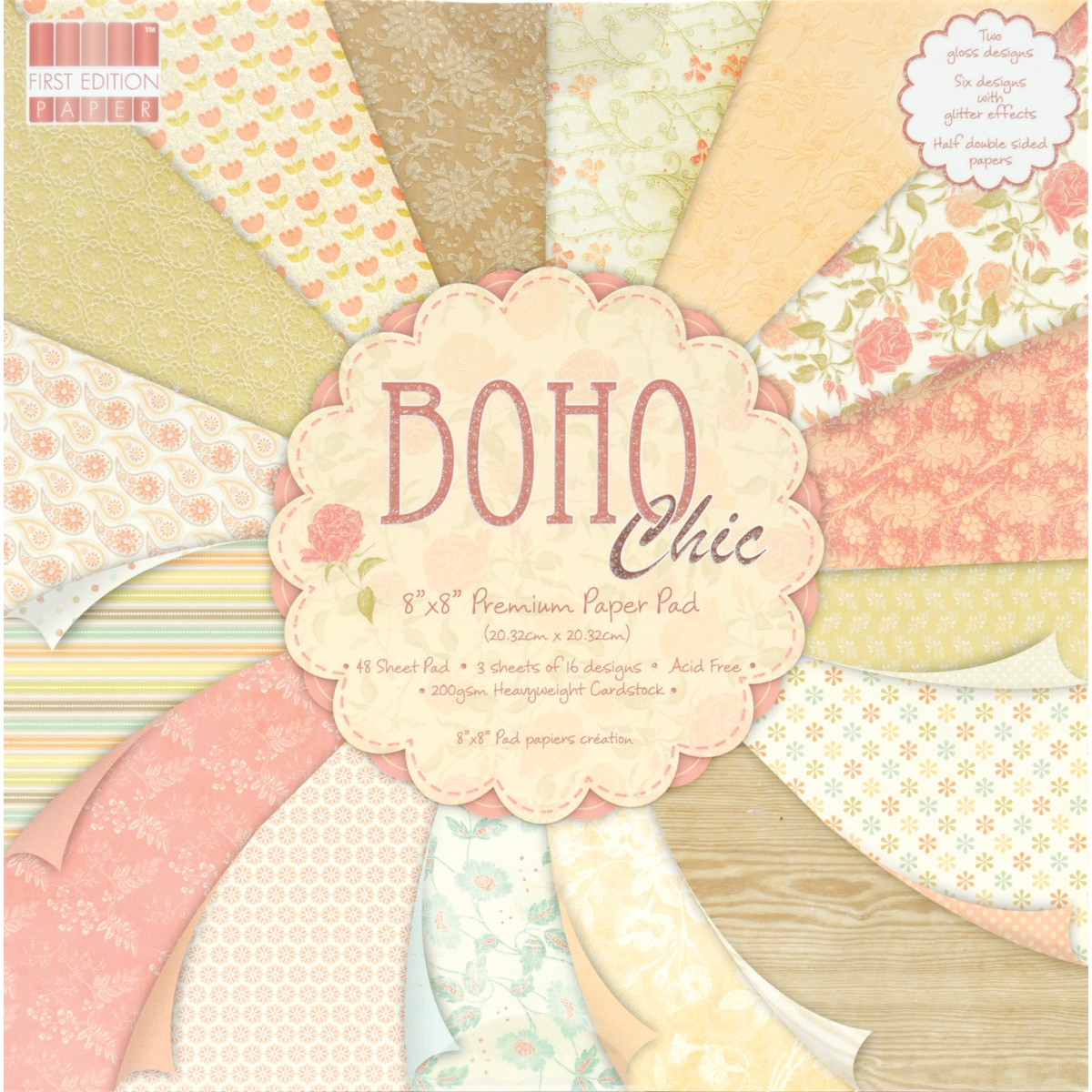 "Premium Paper Pad 8""X8"" 48/Sheets-Boho Chic"