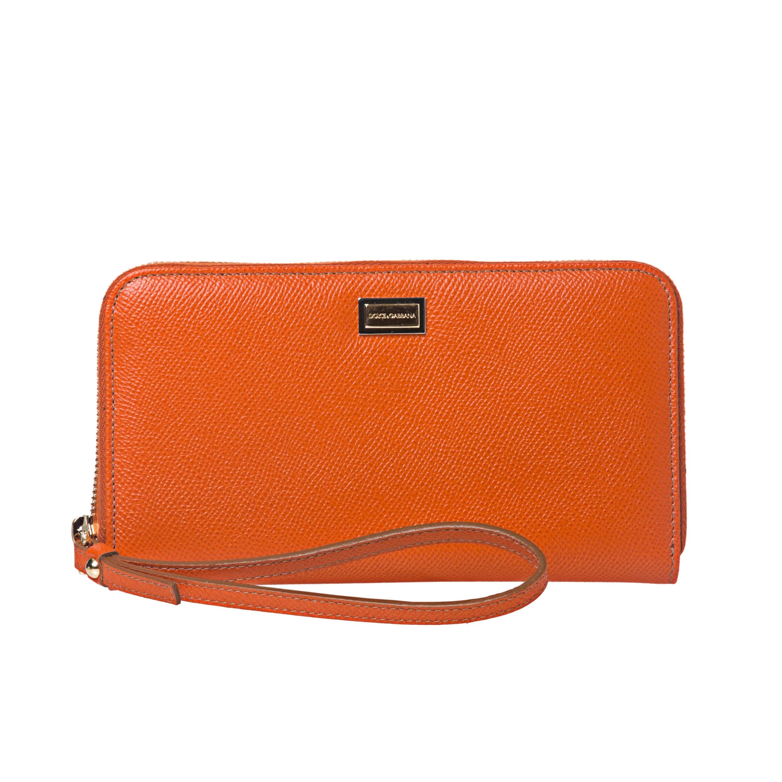 Dolce & Gabbana Orange Leather Zip-around Wristlet