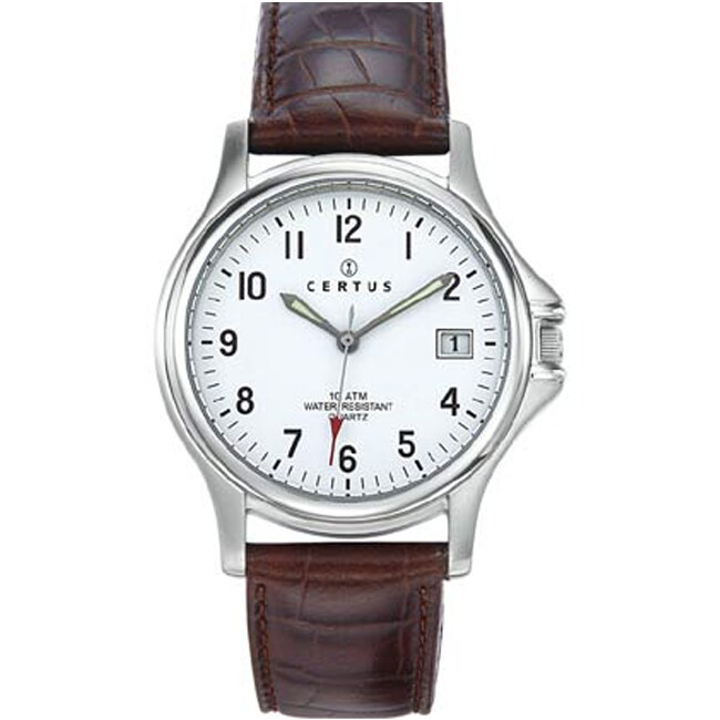 Certus Paris Men's White Dial Leather Date Watch