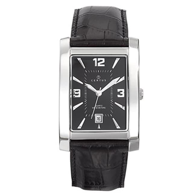Certus Paris Men's Black Dial Leather Date Watch