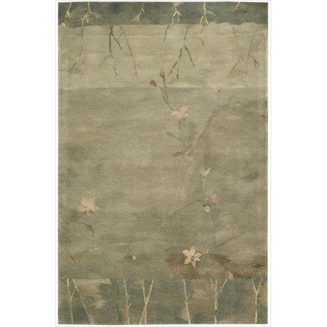 Nourison Hand-tufted Reflections Green Wool Rug (3'9 x 5'9)