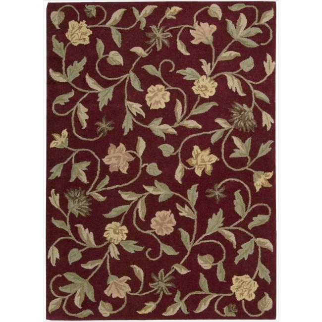 Nourison Hand-tufted Flower Garden Burgundy Wool Rug (7'9 x 9'9)