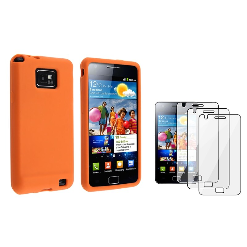 Orange Silicone Case/ Screen Protector for Samsung Galaxy S II i9100