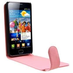 Pink Leather Pouch/ LCD Protector for Samsung Galaxy S II GT-i9100 - Thumbnail 1
