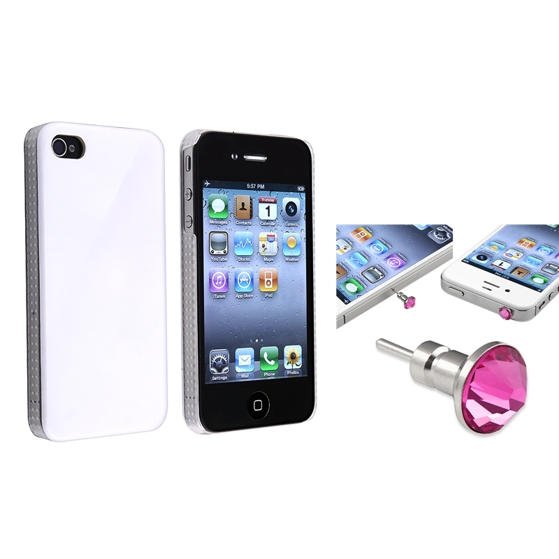 Shiny White Snap-on Case/ Pink Headset Dust Cap for Apple iPhone 4/ 4S