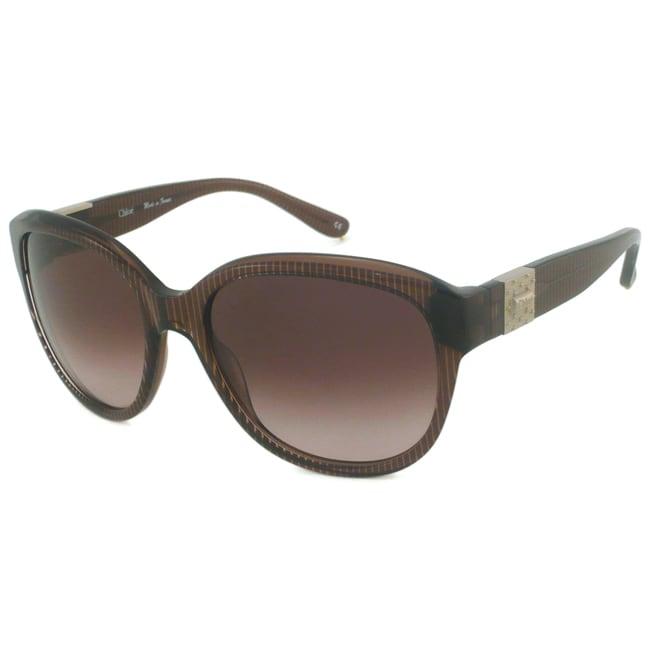 Chloe Women's Brown Striped Fashion Sunglasses