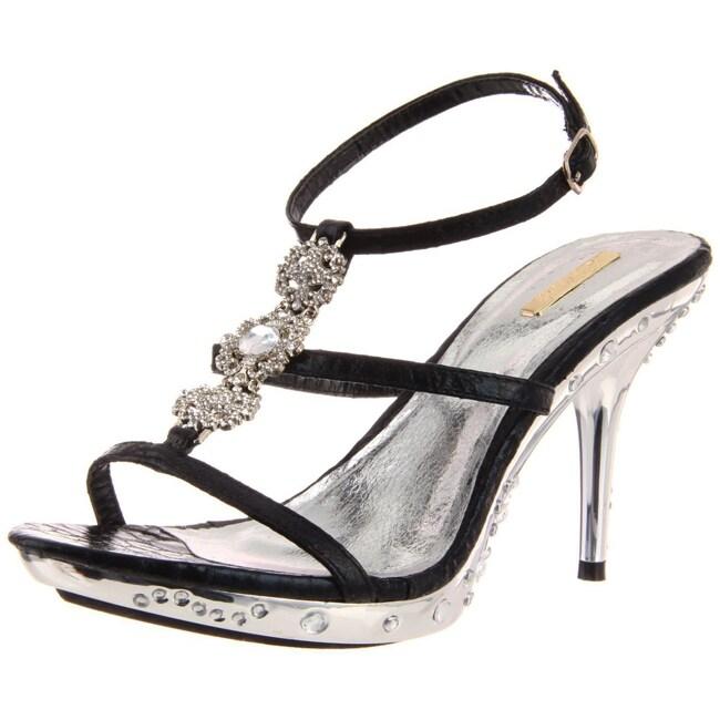 Celeste Women's 'Gusi-01' Black T-Strap Heels
