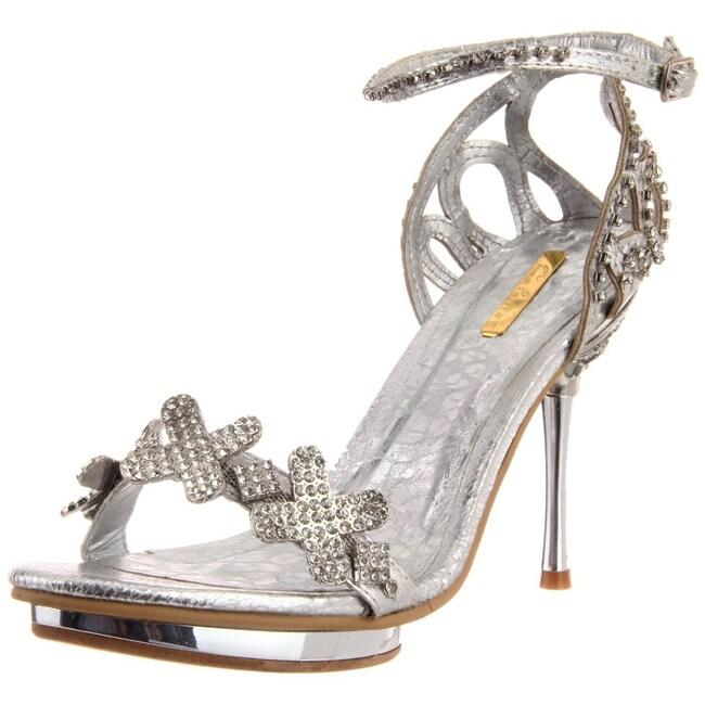 Celeste Women's 'Joyce-07' Silver X Rhinestone Heel