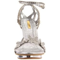 Celeste Women's 'Joyce-07' Silver X Rhinestone Heel - Thumbnail 1