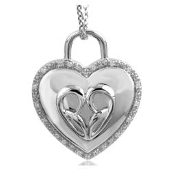 Bridal Symphony Sterling Silver .10CTtw Diamond Accent Heart Padlock Necklace (I-J, I2-I3)